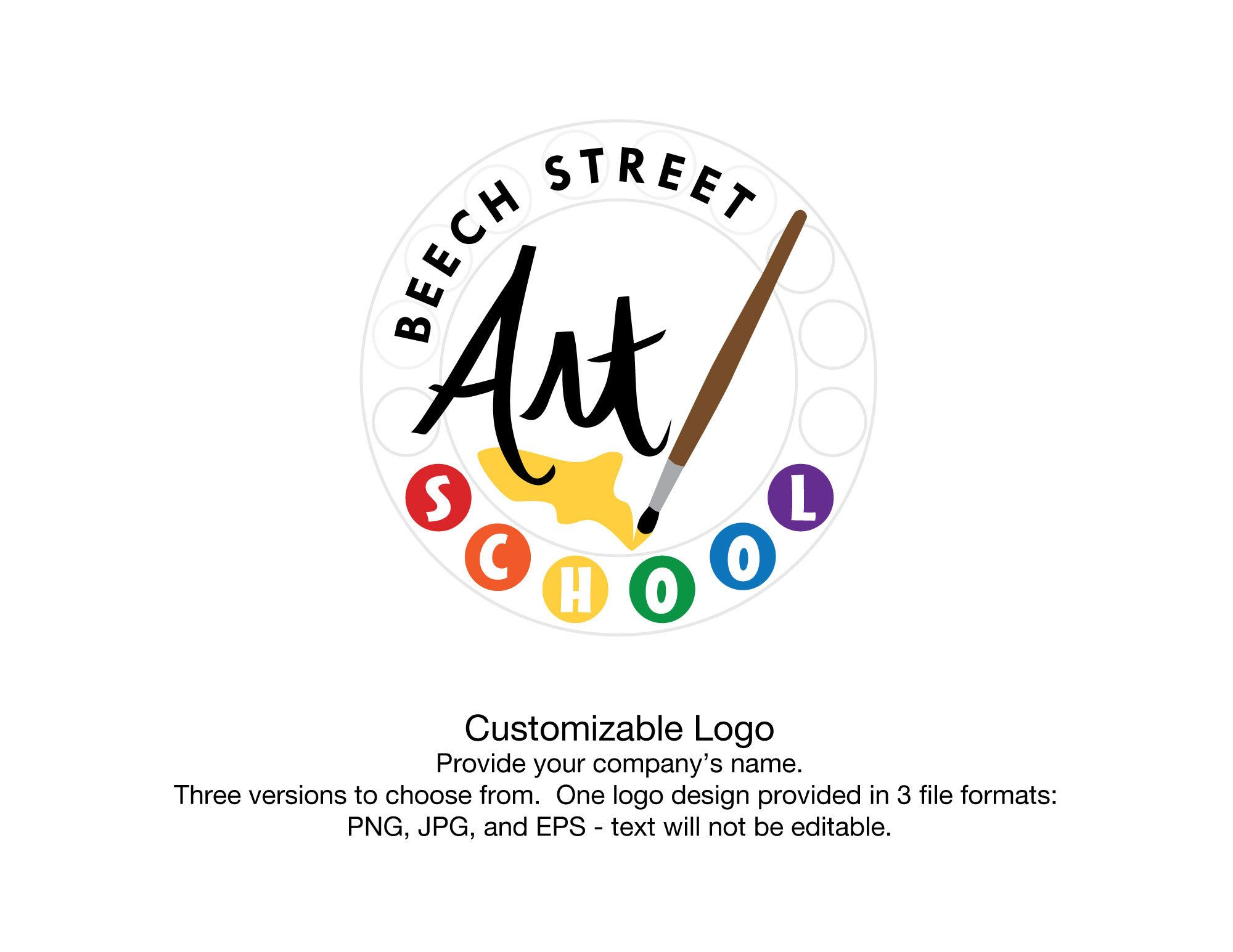 Art Palette Logo Personalized Art School or Artist