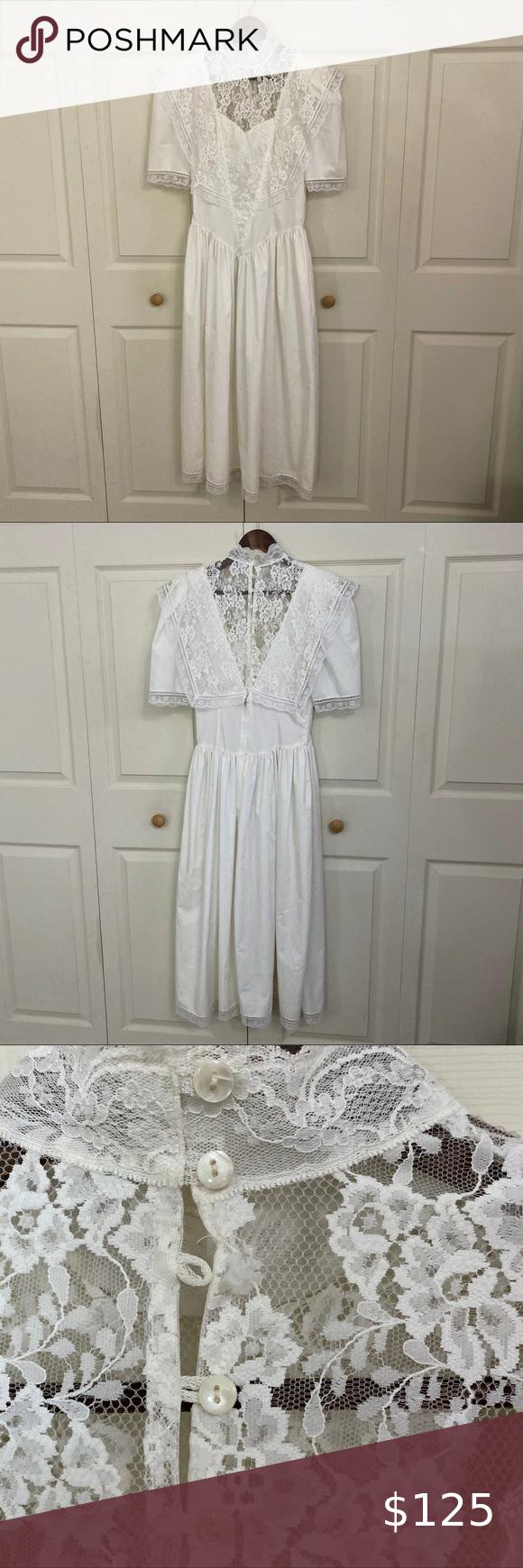 Vintage White Lace Cottage Core Dress Flowy White Dress Missing One Button See Back 28 Waist Lace Farm Cor White Flowy Dress Cottage Core Dress Lace Midi [ 1740 x 580 Pixel ]