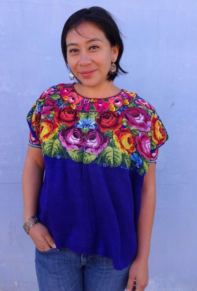 Ethnic Maya Woman's Vintage Purple Floral Huipil/Poncho from Guatemala #Huipil