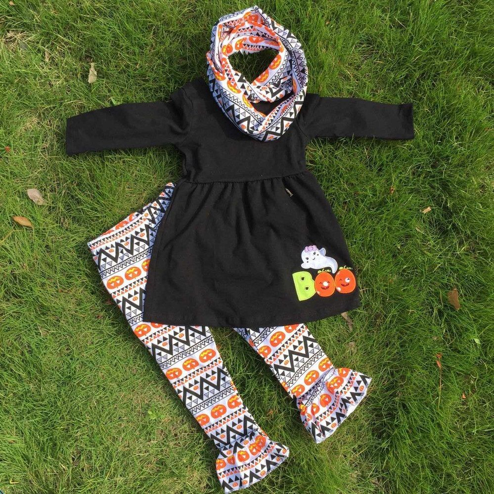 Preorder-Wholesale Halloween Aztec Boo Orange Pumpkin 3 Pc Girls ...
