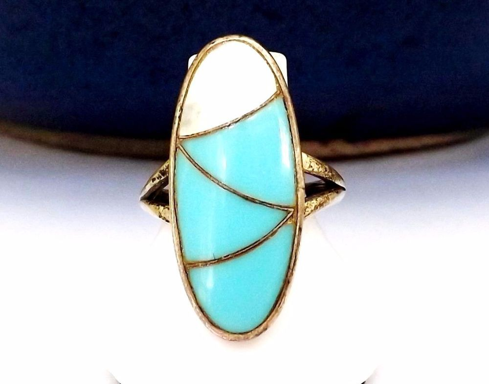 Sizable Unisex Gift Jewelry Blue Turquoise Sterling Silver Overlay 6 Grams Ring Size 6.5 US