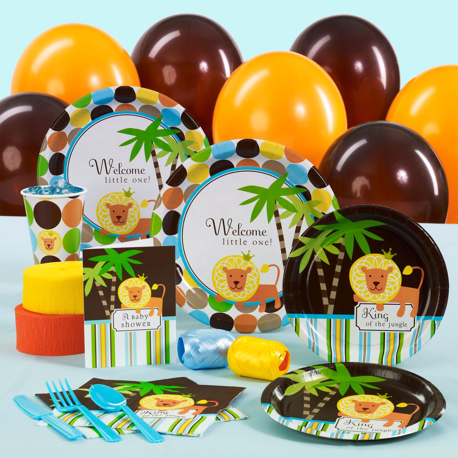 jungle shower ideas home u003e king of the jungle baby shower standard party pack for
