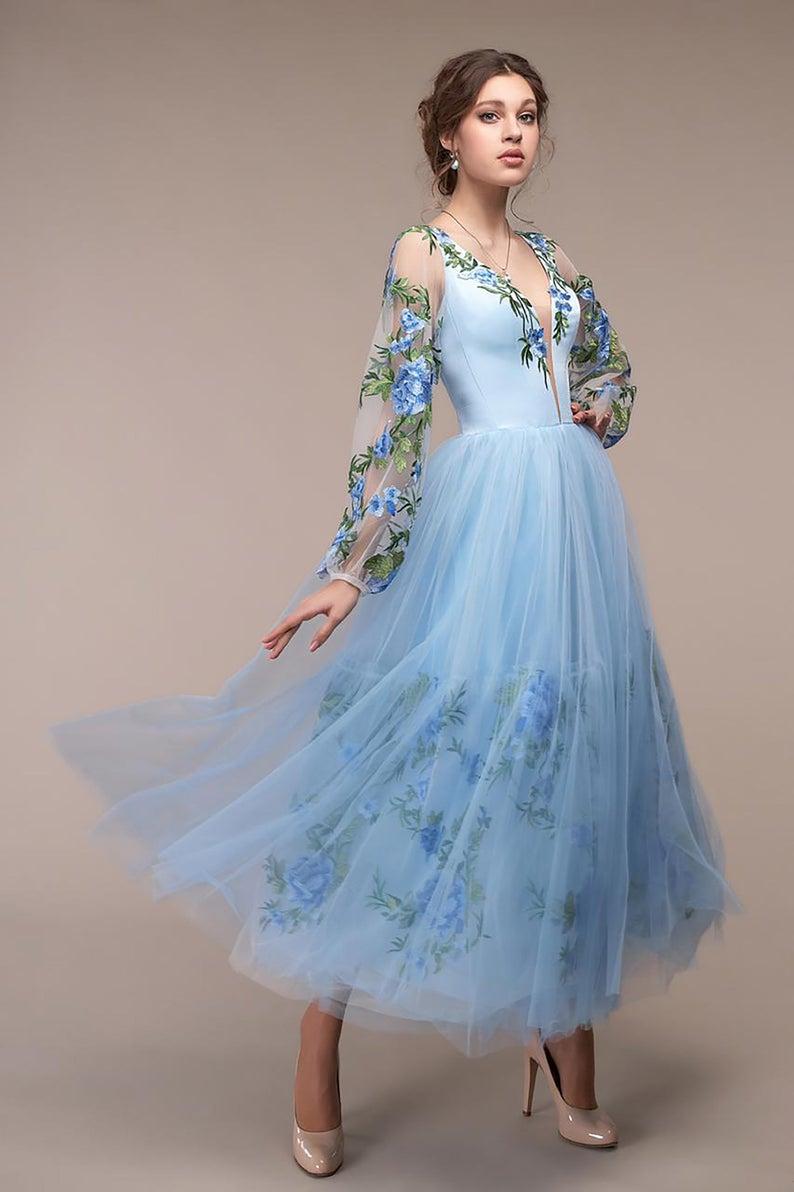 Deep V Neckline Light Blue 3d Floral Evening Dresses Chiffon Summer Party Gown Sky Blue Graduation Dress Long Sleeves Wedding Guest Dress Floral Evening Dresses Blue Graduation Dresses Blue Dress Short [ 1192 x 794 Pixel ]