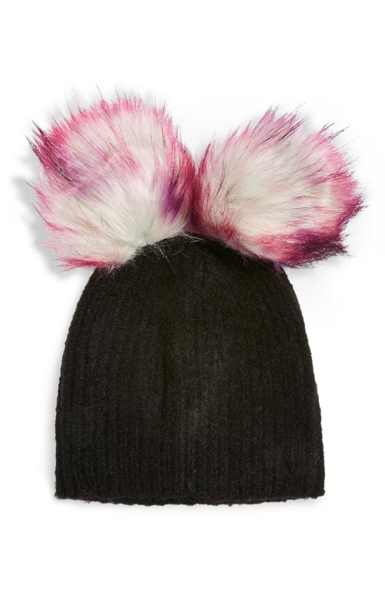a12b732db20 Free shipping and returns on Topshop Faux Fur Double Pompom Beanie at  Nordstrom.com. The only thing better than one fluffy faux-fur pompom is two  fluffy ...