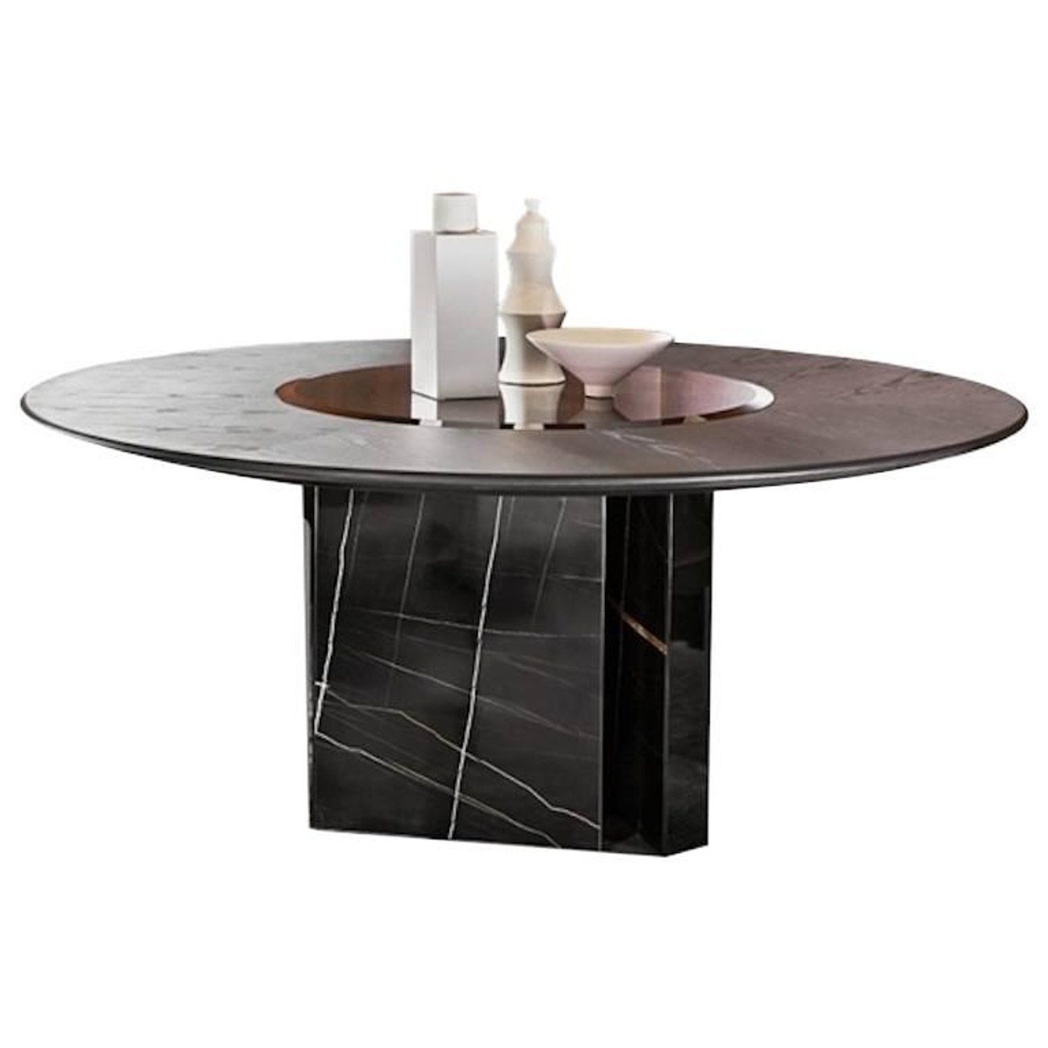 Gallotti Radice Platium W Round Table In Marble Wood Glass