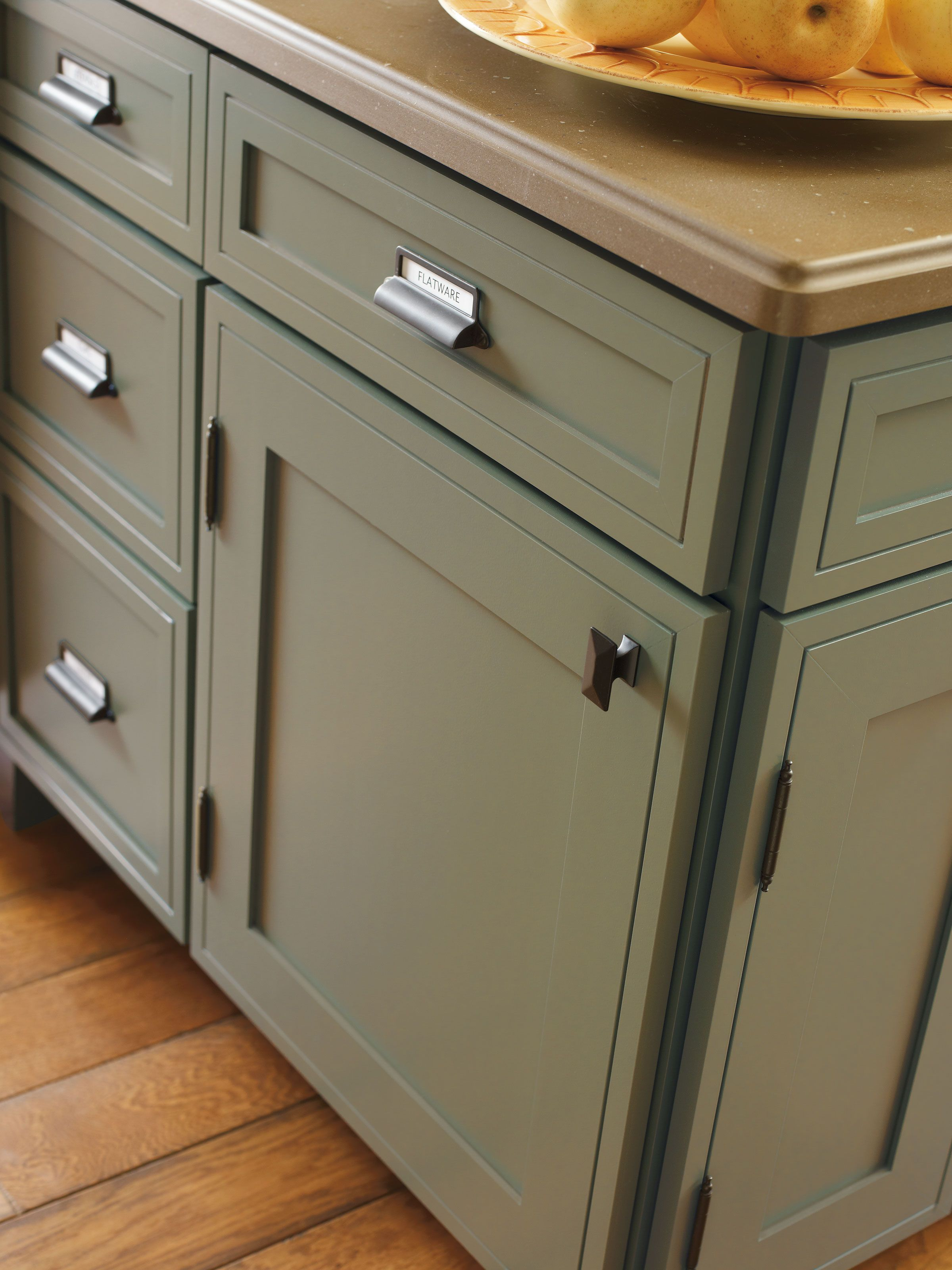 Bring Earthy Tones Into Your Kitchen With The Airedale Maple Doors In A Sweet Pea Finish By Decora Decora Cabinets Kitchen Cabinet Hardware Kitchen Cabinetry