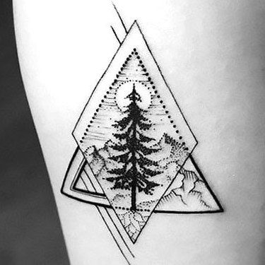 Christmas Tree Tattoo Designs.Cute Back And Gray Fox Tattoo Design Mountain Tattoo