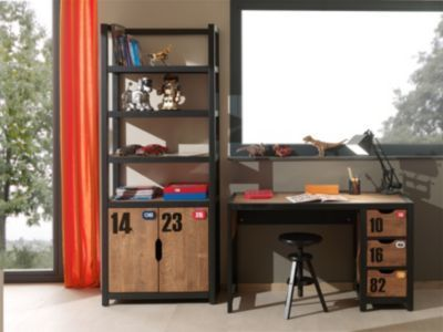 Vipack Set Alex best aus Regal und Schreibtisch Kiefer gebürstet - Schreibtisch Im Schlafzimmer