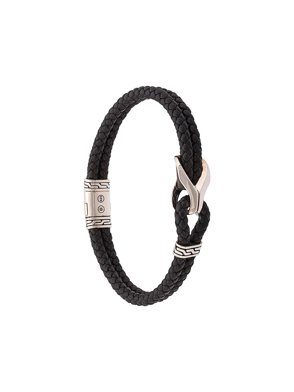 1e73605d0e366 John Hardy Silver Classic Chain Woven Leather Bracelet with Station ...
