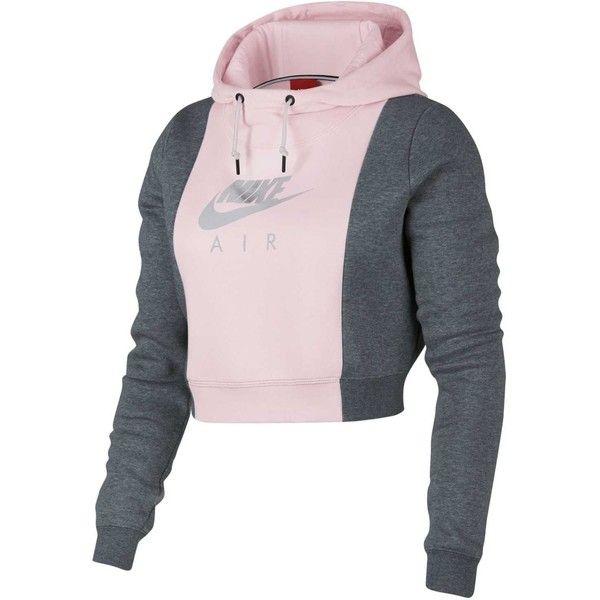 ba78bce55b Nike Air Crop Hoodie ($65) ❤ liked on Polyvore featuring tops, hoodies, hooded  sweatshirt, pink cropped hoodie, cut-out crop tops, cropped hoodie and ...
