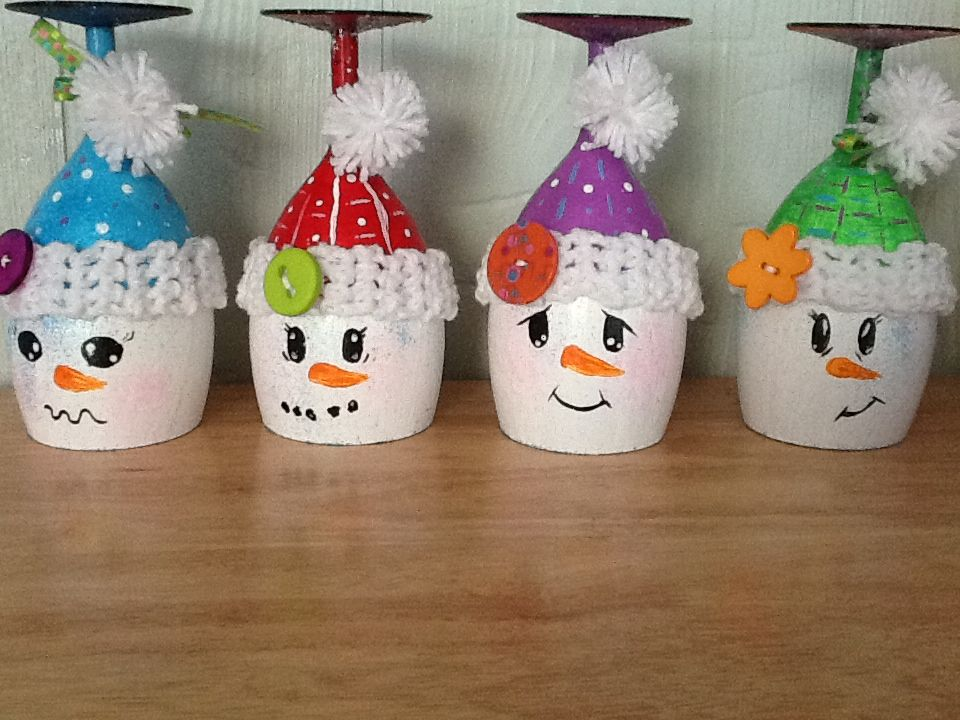 Wineglass Snowmen Candle Holders Christmas Pinterest Christmas