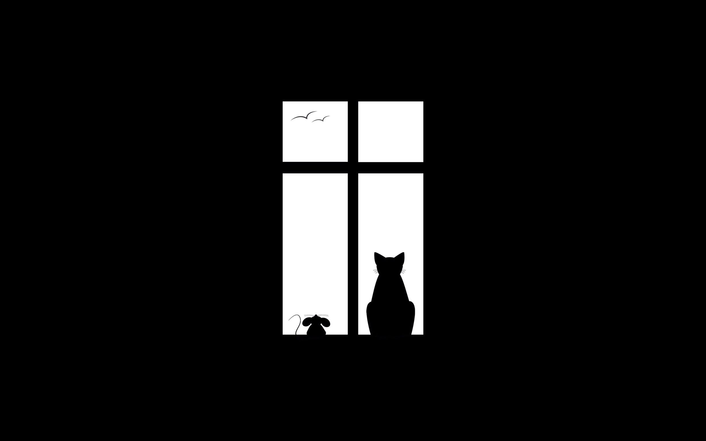 Silhouette Of Cat Mouse In Window Minimalist Wallpaper Minimalist Desktop Wallpaper Iphone Wallpaper Cat
