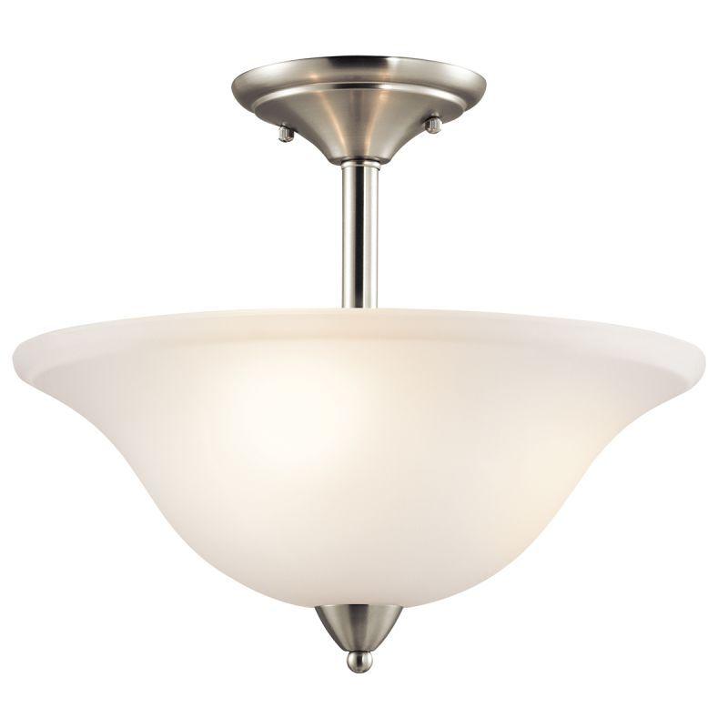 Kichler 42879 Nicholson 3 Light Semi Flush Indoor Ceiling Fixture Brushed  Nickel Indoor Lighting Ceiling