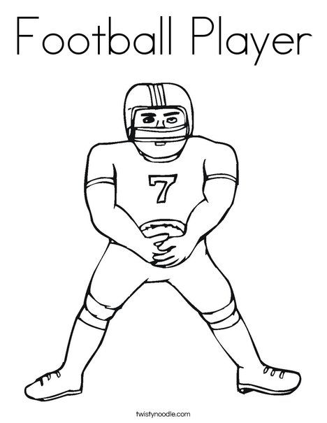 Football Player Coloring Page Twisty Noodle Football Coloring