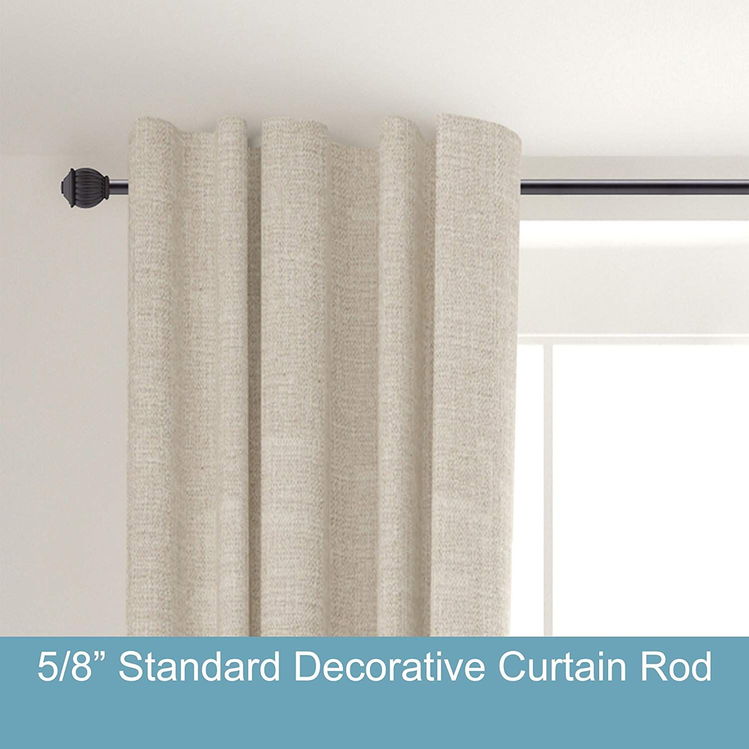 Kenney Beckett 5 8 Standard Decorative Window Curtain Rod 28 48 Black Home Kitchen Window Curtain Rods Decorative Curtain Rods