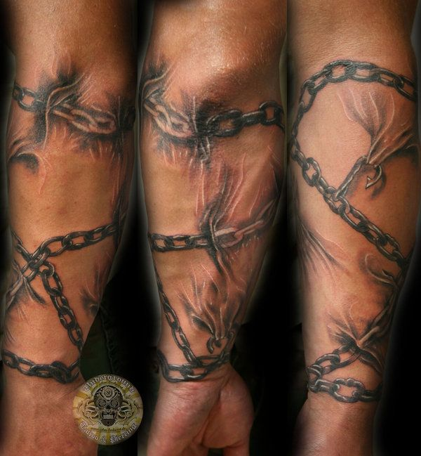 Chains Forearm Sleeve Tat By 2face Tattoodeviantartcom On