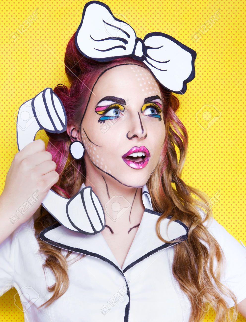 Cartoon Makeup: Woman With Cartoon Pop Art Make Up And Phone