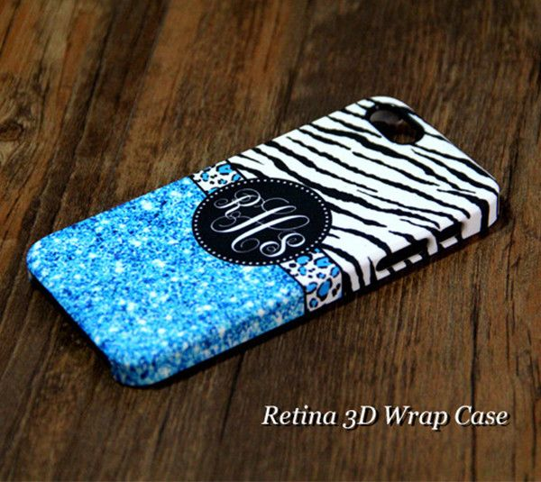 Monogram iPhone 6 case blue Glitter Zebra iPhone 6s case