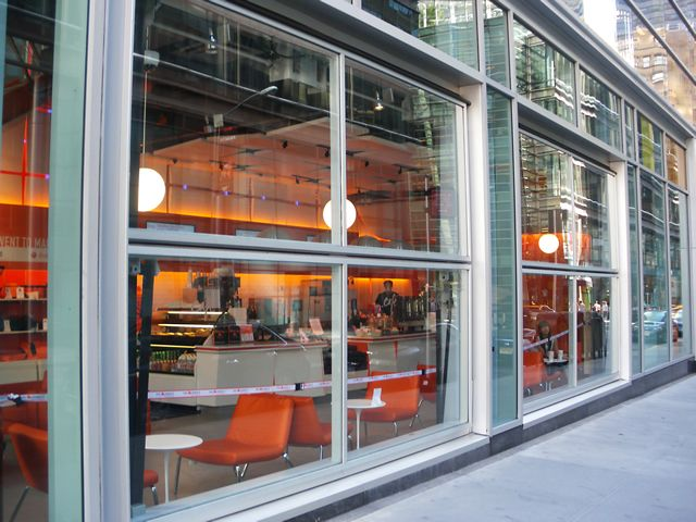 Outside of new york restaurant with two glass bifold doors