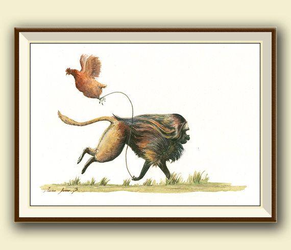 PRINT- Gelada - Bleeding heart Gelada monkey painting watercolor - Chicken Monkey art nursery forest animal decor - Art Print by Juan Bosco
