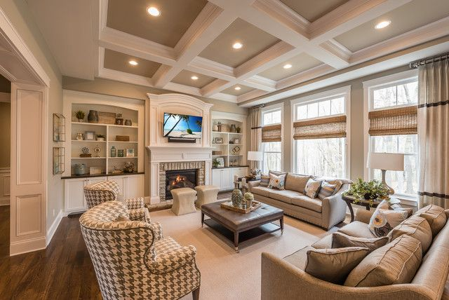 Classic Living Room Design Built Ins And Waffle Ceiling But Comfy  Kitchen  Pinterest