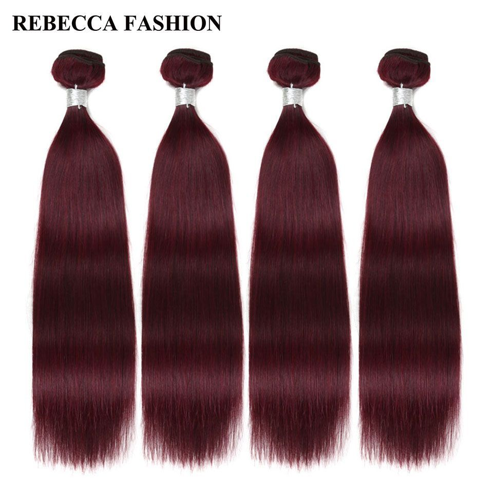 Rebecca Brazilian Hair Weave Bundles Remy Straight Wine Red Human