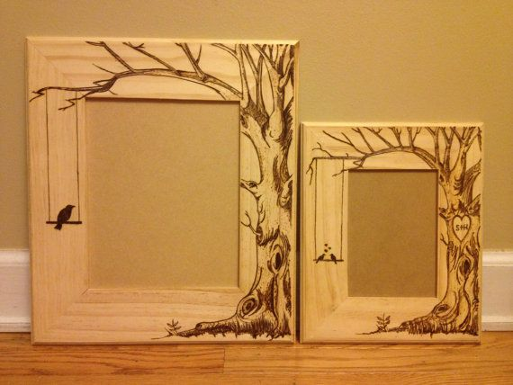 7c7203ffcc92 Wood burned picture frame do custom orders by KallyGrace3boutique... I love  trees