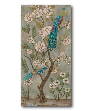 Take a look at this peacock chinoiserie canvas wall art by courtside market on zulily