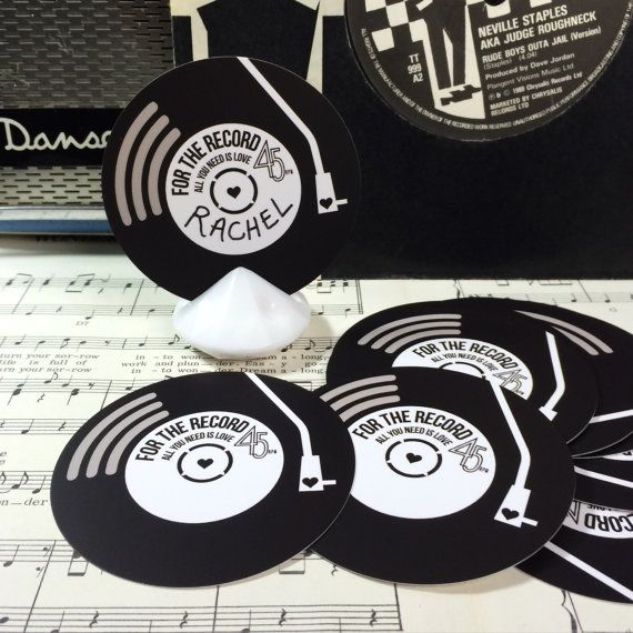 Blank Write Your Own Wedding Name Place Cards Vinyl Record Etsy Wedding Name Music Themed Wedding Name Place Cards