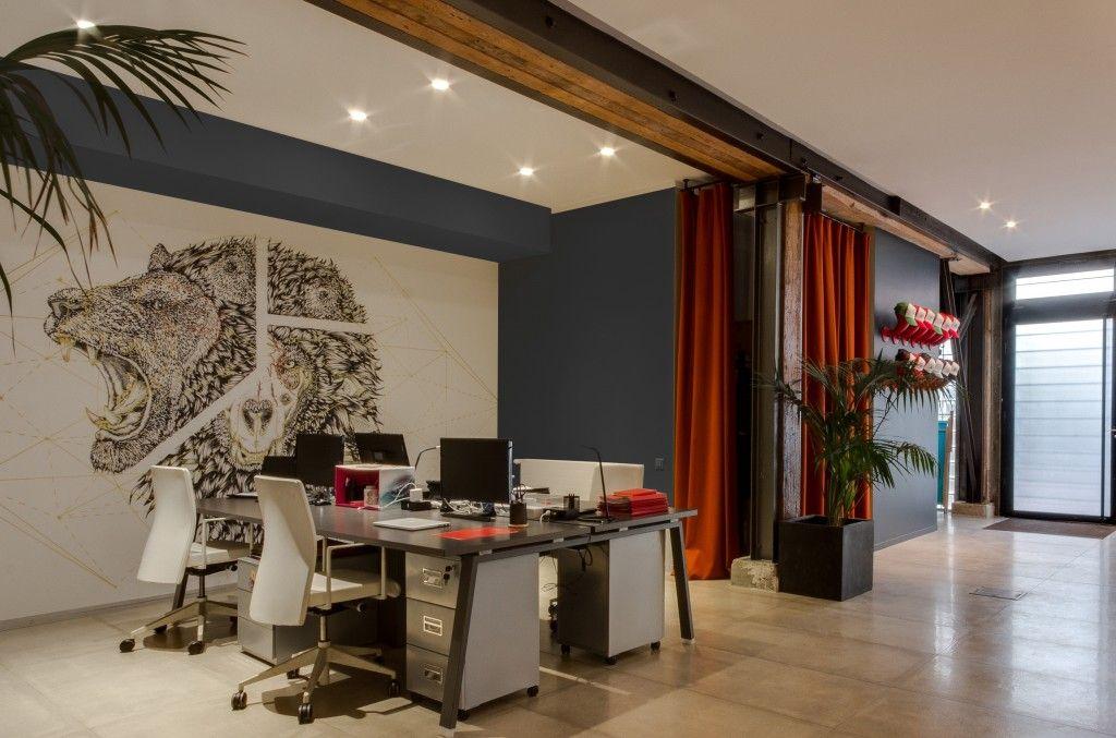 Fresque bureaux open space rideaux orange creative spirit