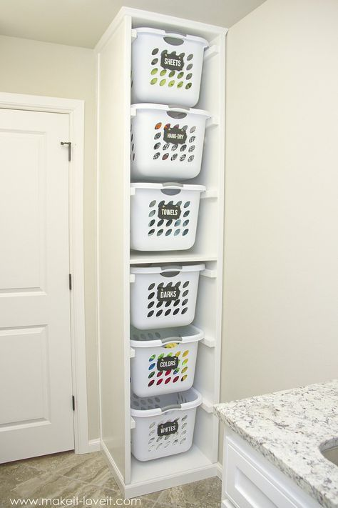 DIY Laundry Basket Organizer (...Built In -   21 DIY Clothes For Kids laundry rooms