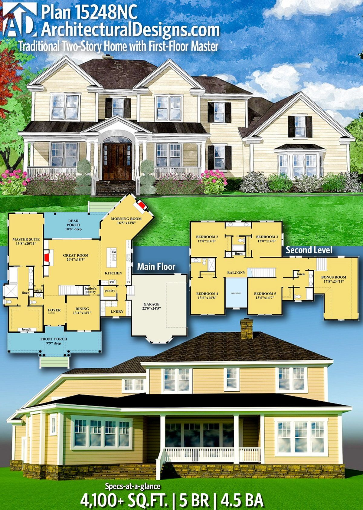 Plan 15248nc Traditional Two Story Home With First Floor Master Contemporary House Plans How To Plan House Plans