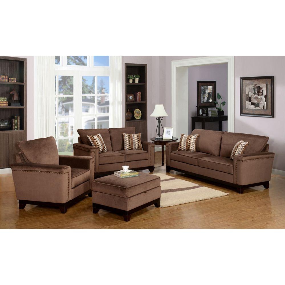 Opulence Brown Velvet Sofa - Nailhead   Leather living ...