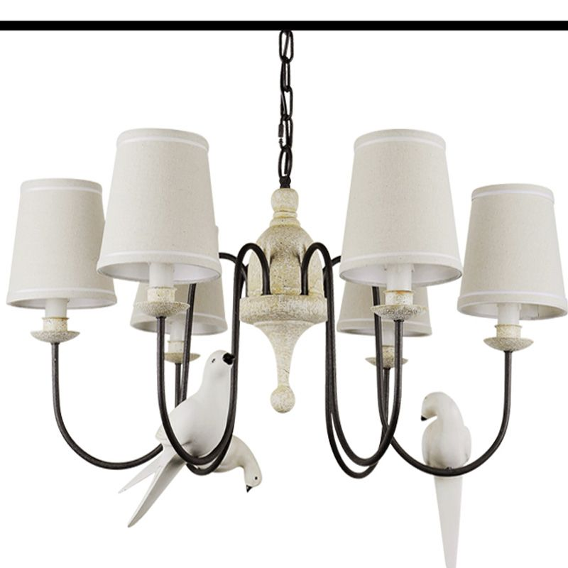 Country Minimalist Creative Resin Cloth Shade Bird Chandelier Lamp ...