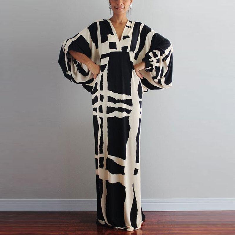 V Neck Long Sleeve Print Black Maxi Dresses for Women #blackmaxidress