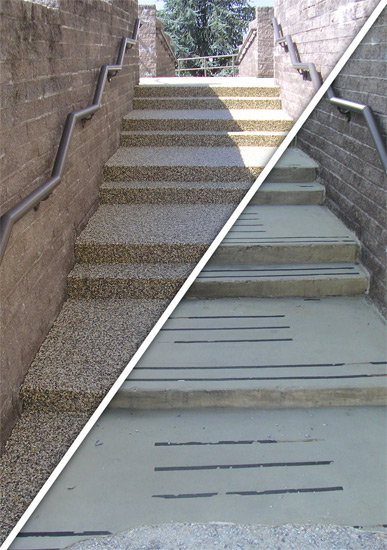 Resurface old concrete with pebble stone in one day - Exterior concrete resurfacing products ...
