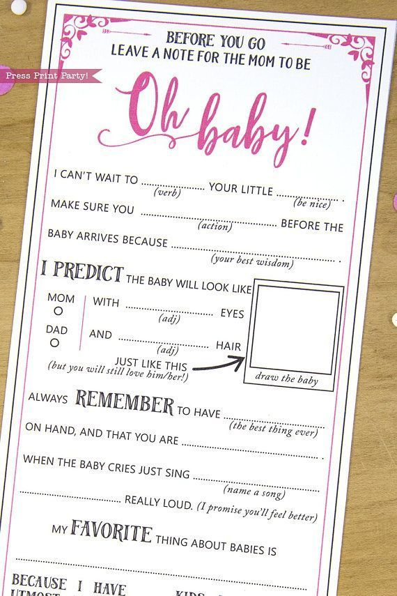 Baby Shower Mad Libs Advice Card Baby Girl Hot Pink, Mom-to-be Funny ...