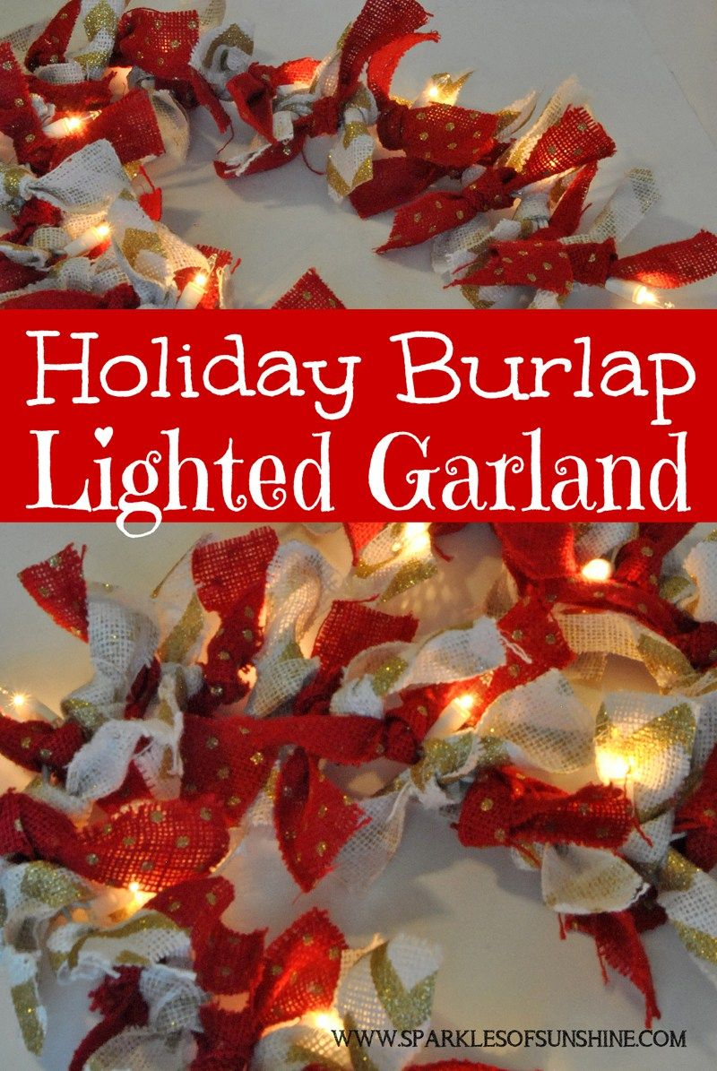 Holiday Burlap Lighted Garland Christmas And New Years