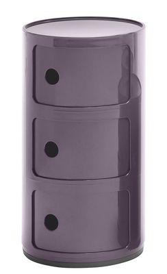 Rangement Componibili 3 Tiroirs H 58 Cm Kartell Violet En Matiere Plastique En 2020 Kartell Componibili Rangement Kartell