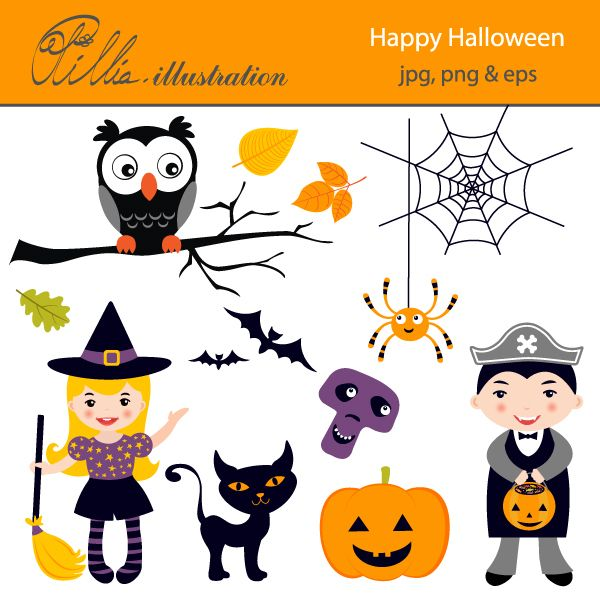 This Cute Happy Halloween clipart set comes with 11 beautiful ...