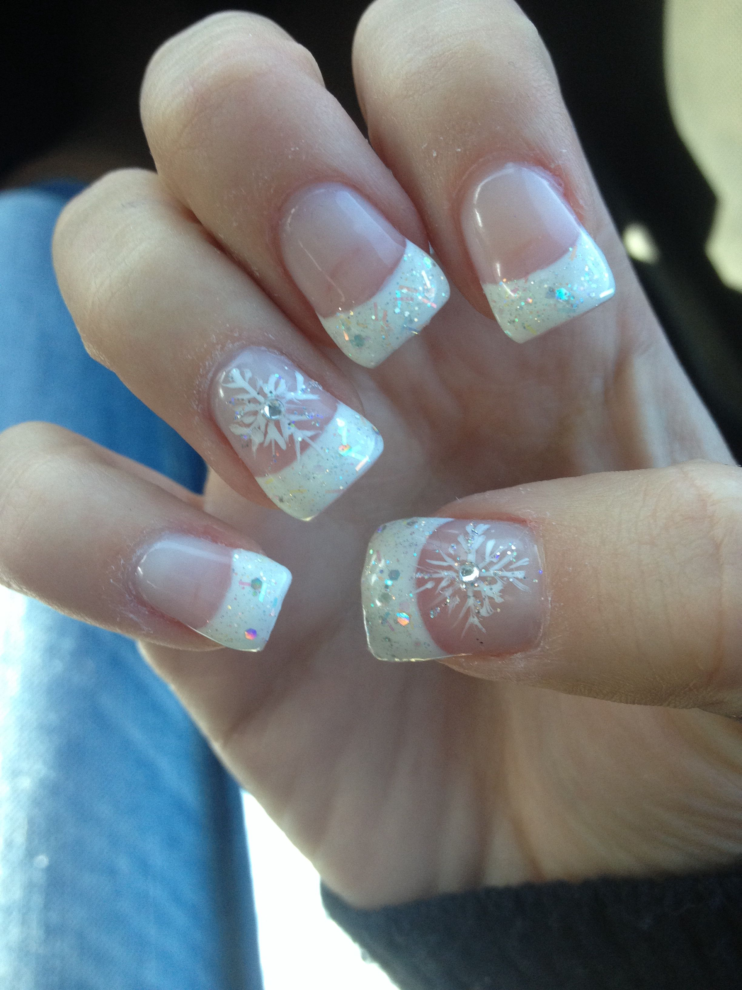 Cute Acrylic Sparkle French Tips With Snowflake Winter Nails Nails