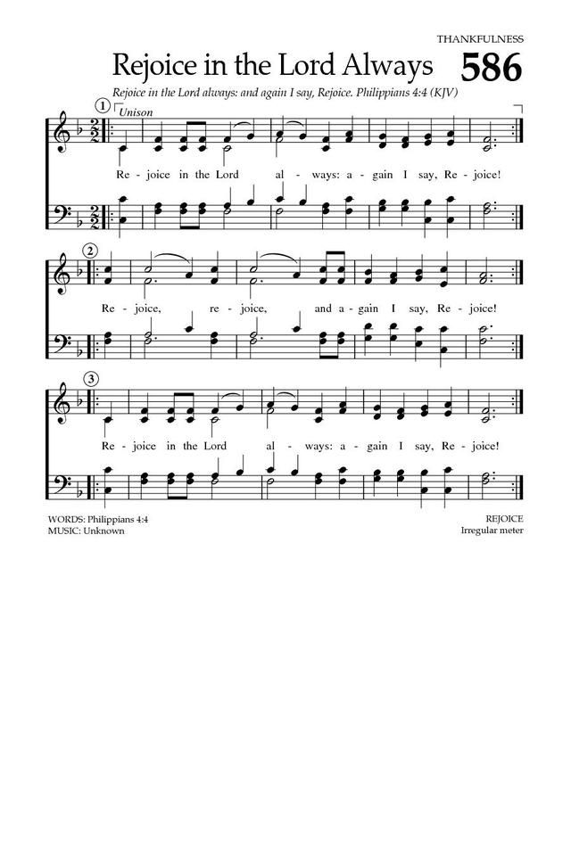Baptist Hymnal 2008 586  Rejoice in the Lord always: again I say