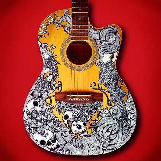 Guitar Covered With Mermaids Skulls Black White Color Art