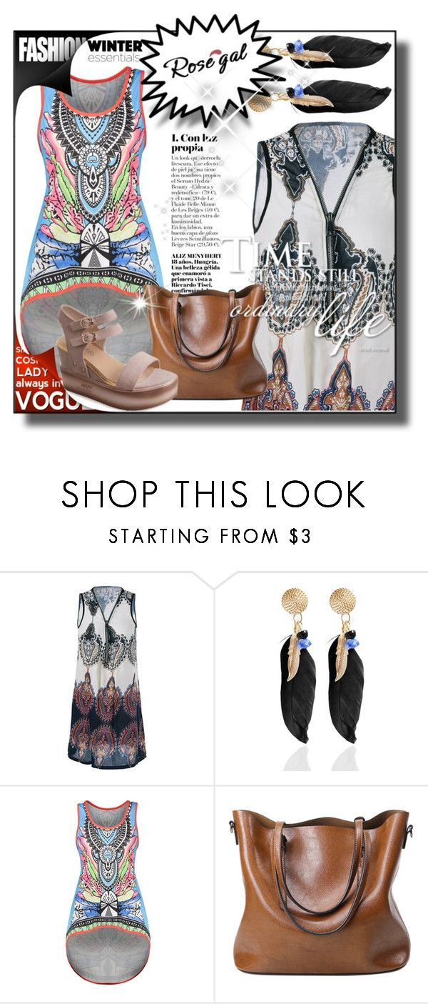 """""""II-Rosegal style 34"""" by merryyyyy-132 ❤ liked on Polyvore featuring dress, sandals, bag and rosegal"""