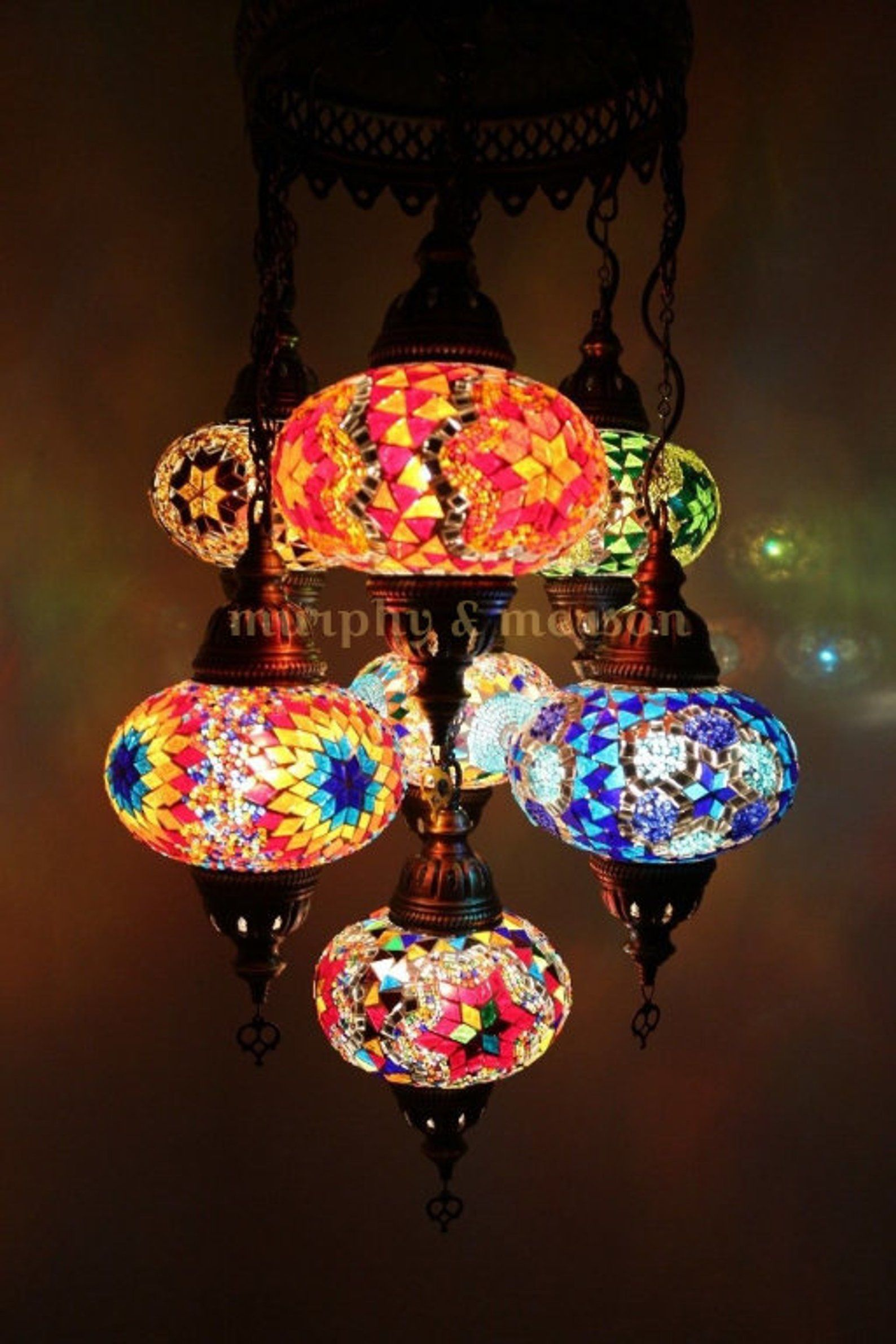 Turkish Mosaic Lamp 7 Globe Moroccan Style Chandeliers Hanging Light Night Traditional Antique Pendant Lampshade Free Expedited Shipping Turkish Mosaic Lamp Mosaic Lamp Lamp