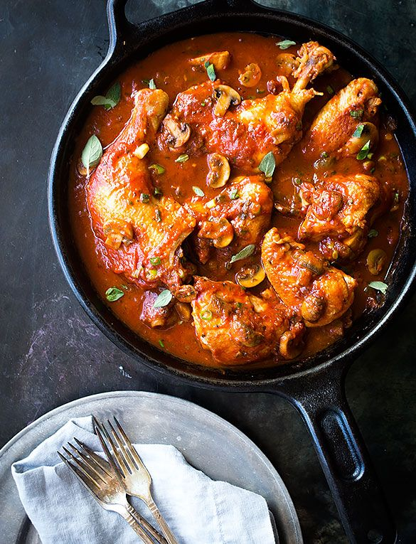 Braised Chicken Thighs with Tomatoes and Garlic | Recipe ...