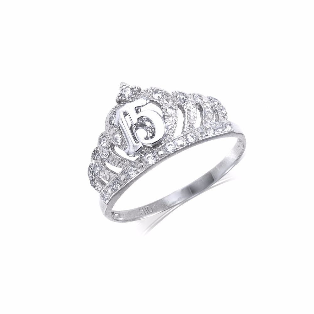 10k Solid White Gold Cz Crown Sweet 15 Ring Quinceanera Anos Birthday Band Girls Ebay Aquamarine Engagement Ring Vintage Gold Diamond Wedding Band Engagement Ring White Gold