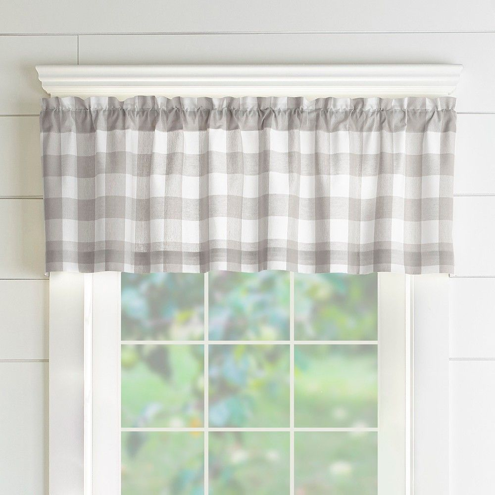 Farmhouse Living Buffalo Check Window Valance 60 X 15 Gray White Elrene Home Fashions Elrene Home Fashions Window Valance Valance