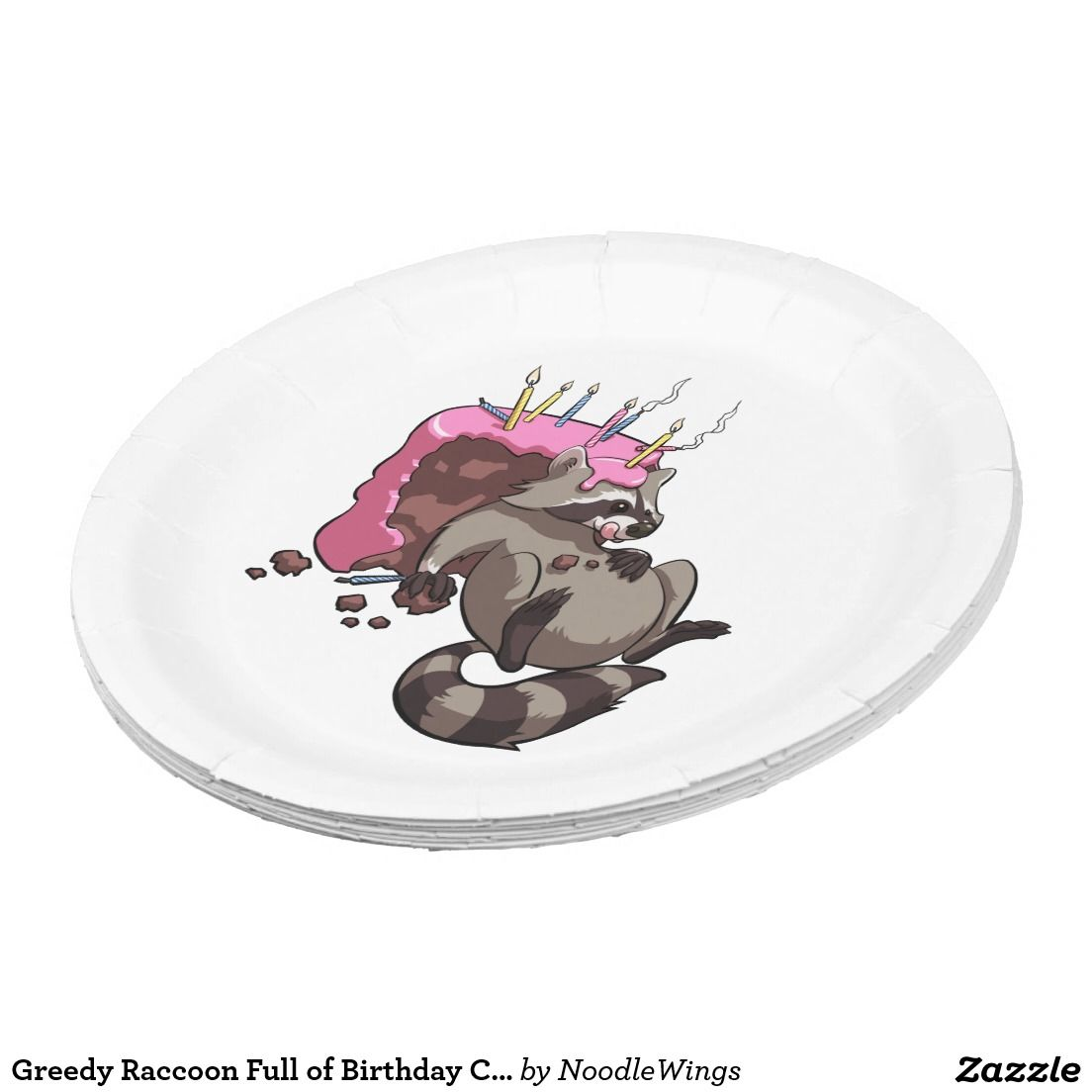 Greedy Raccoon Full of Birthday Cake Cartoon