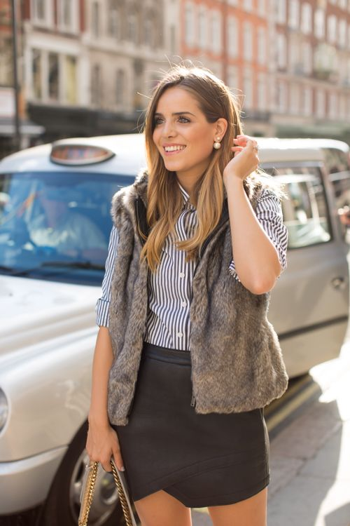leather + striped top + faux fur